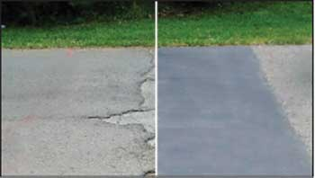before and after photo of a parking lot repair