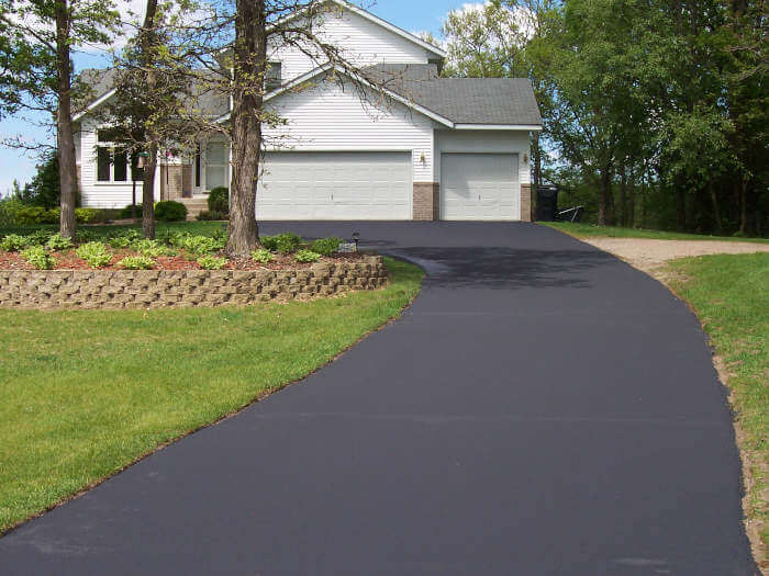 Driveway with fresh sealcoating